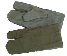 Ex-Army Work Gloves Linen & Cotton Trigger Finger Mittens Mitts Wool Lined Olive