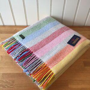 TWEEDMILL Pure New Wool Throw RAINBOW GREY STRIPE British Blanket Rug Gift
