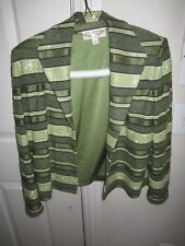 ST JOHN COUTURE JACKET BY MARIE GRAY - SIZE 8 - GREEN DESIGN WITH SEQUINS