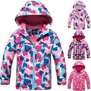 Kids Girl Hoody Jacket Fleece Lined Coat Outfits Waterproof Windproof Clothes