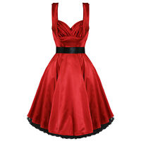 Ladies New Red Satin Vintage 1950s Retro Pinup Party Prom Swing Evening Dress UK