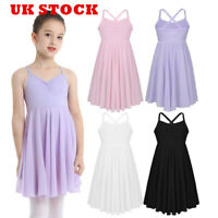UK Girl Ballet Dance Dress Kid Gymnastics Camicole Top Leotard Dancewear Costume