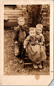 Vintage Black and White Postcard Standing Boy & 1 Boy 1 Girl Sitting on a Chair