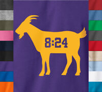 Kobe Bryant GOAT 8:24 T-Shirt Black Mamba Lakers Basketball Ringspun Cotton Tee