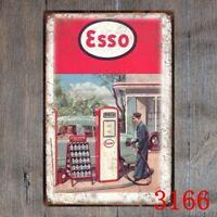 Metal Tin Sign esso gas station Decor Bar Pub Home Vintage Retro