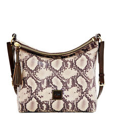 Dooney and Bourke crossbody Black brown leather Zip Top Hobo Python Dixon L NWT