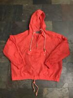 Rare Vintage Jeep Brand Red/orange Front Pouch Hooded Windbreaker Pullover Sz L