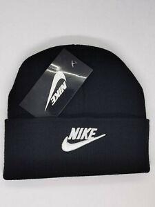 Nike Beanie Winter Hat  Black White One Size Women Men Adjustable Christmas SALE