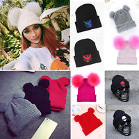 Womens Mens Knitted Woolly Pom Pom Beanie Bobble Skull Punk Hat Winter Warm Caps