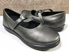 APEX Petals Janice Women's GRAY Leather Mary Janes Slip On Comfort  Shoes 8EW US