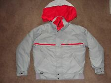 EDDIE BAUER Goose Down Gore Tex Parka Jacket Coat ~ Grey & Red w/hood Size SMALL