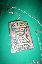 VINTAGE SILVER 925 PENDANT & CHAIN W/INCA WARRIOR FACE - TAXCO  - VERY OLD