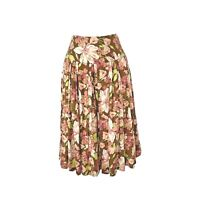Tommy Bahama Women's Skirt 100% Silk High Waist Floral Pleated Midi Side Zip