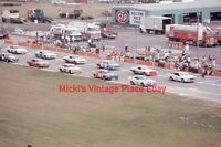 Vintage 1974 Photo 35mm Slide Michigan Nascar Race Line up Pit Lane d50