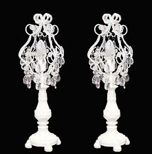 1 Pair of White Shabby Chic Beaded Table / Bedside Lamp height 56cm