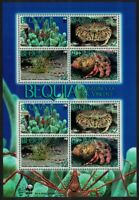 Bequia WWF Caribbean Reef Crustaceans Sheetlet of 2 sets 2010 MNH