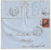 1853 BRADFORD =107= & BLUE UDC QUEENS-HEAD Nr 4 MARGIN 1d IMPERF BOWLING IRON Co