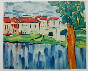 Maurice of Vlaminck: Chatou And the Tree Red - Lithography Signed, 1958