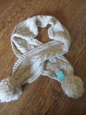 BNWT Girls Beige Cable Knitted Pom Pom Scarf One Size
