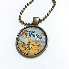 HAMPTON CHESAPEAKE NORFOLK VIRGINIA USA Map necklace pendant vntg ATLAS