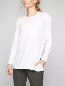 Athleta Women's White Long Sleeve Threadlight Layering Soft Stretch Top Small