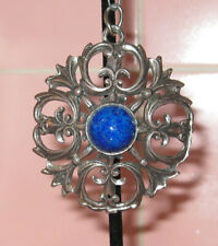 Vintage Tinn Pewter Pendant Norway Blue Stone Norwegian