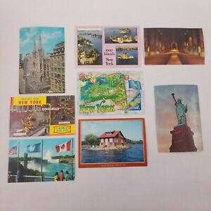 Vtg New York NY City Postcards Lot Of 8 Buildings, Statue of Liberty, Flags, Map