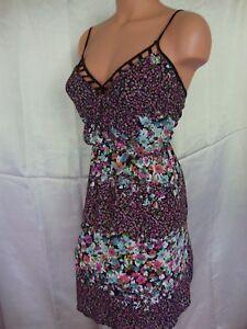 Charlotte Russe Flounce Dress XL Black Pink Multi Floral Spaghetti Strap
