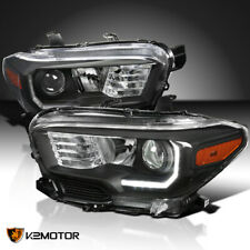 For 2016-2018 Toyota Tacoma Projector Headlights Black Lamps w/ Led Drl Strip