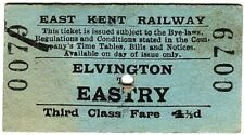 More details for railway ticket: east kent: elvington to eastry, 1939
