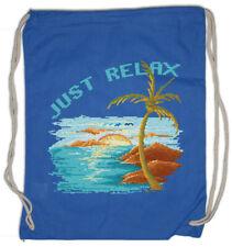 Pixel Just Relax Drawstring Bag Gamer Gaming Geek Nerd Fun Beach Holidays Sea