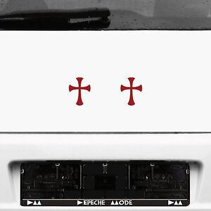 2 Stück 8cm dunkelrot Gothic Gothik Templer Tempel Ritter Kreuz Aufkleber Tattoo