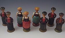 8 Anri Mechanical Lot Vintage Italy Salt & Pepper Figurine Hand Carved 1930s #40