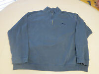 Tommy Bahama Men's long sleeve 1/4 zip pull over shirt Pima Cotton blue L GUC @