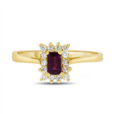 0.65 CT Natural Diamond & Emerald Cut AA Ruby Halo Ring Solid 18k Yellow Gold