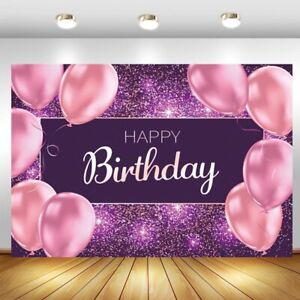 Pink Balloon Happy Birthday Backdrop Girls Party Photo Background Banner Decor
