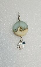 Handmade Glass Ocean Bead & Sterling Silver Necklace Pendant sand dollar crystal