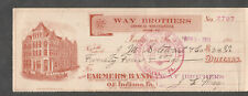 1911 check The Farmers Bank Of Indiana PA/Way Brothers Merchandise/ JMS Stewart