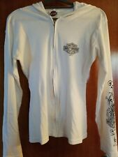 HARLEY-DAVIDSON  Womens Full  Zip Cotton Hoodie White Size Large