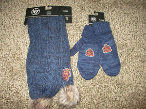 NEW WOMENS NAVY BLUE CHICAGO BEARS KNIT SCARF & MITTEN GLOVES SET nfl lot NWT