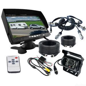"Caravan 4 PIN Rear View 7"" Monitor+HD Backup CCD Camera+Trailer Suzy Coil Cable"