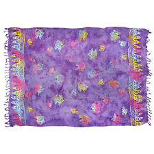 Sarong/Pareo/Wrap - Purple w/rainbow fish batik - handmade in Bali - Hary Dary