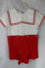NWT Toddler Red/White Sailor Collar 2 Pc. Cotton Shortall by Aurlug - Size 4T