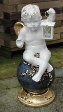 Engel Lampe Teelicht Figur Sitzend Kugel Gartenfigur Amor Skulptur Groß F1+