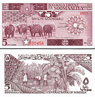UNC /> Buffalo 1987 Banana Harvest P-31c 5 shillings Somalia