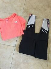 Lot of 2 Victoria Secret Pink Leggings Size Small Black and Coral Color Shirt