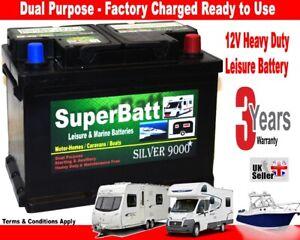12V 75AH SuperBatt LH75 Deep Cycle Leisure Battery Caravan Motorhome Marine Boat