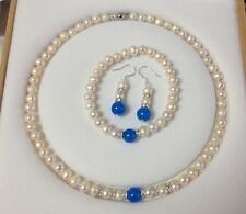 Sapphire Necklace Bracelet Earrings Set 7-8mm White Akoya Cultured Pearl Blue