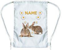 RABBIT BAG Personalised Gym Bag for Boys or Girls Drawstring Gymsac PE Book Bag