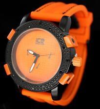 Epic Ice Master Orange Silicone Band CZ Bezel Bling Hip Hop Mens Wrist Watch